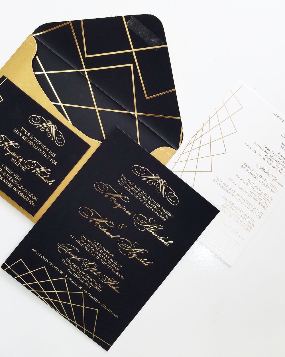 black and gold geometric wedding invitation