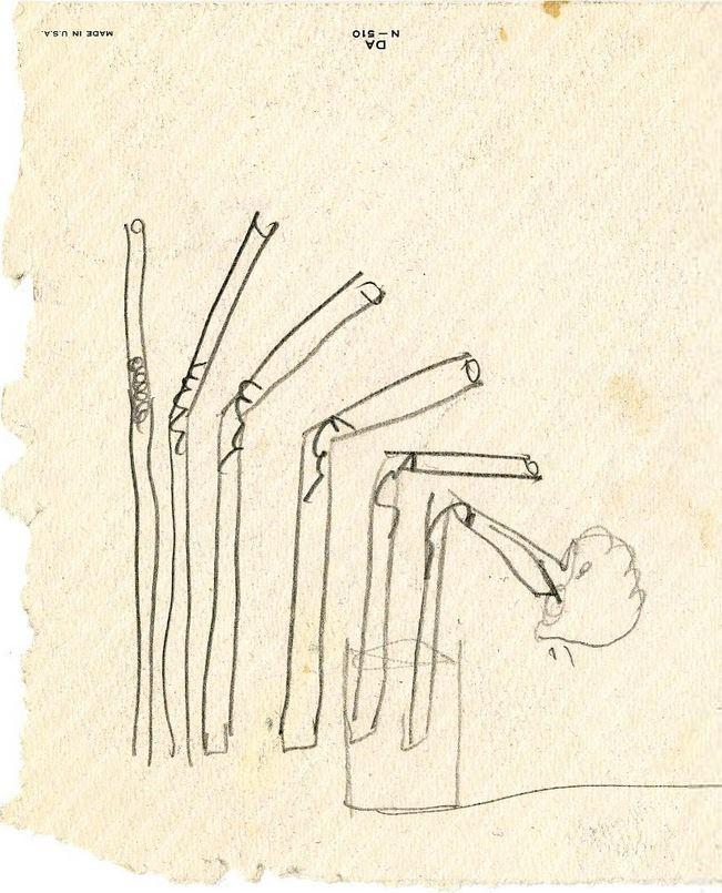 austinkleon :     Bendy straw drawing by its inventor,  Joseph B. Friedman     I love this drawing.