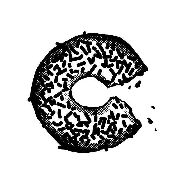 kuseniorshow: Looks perfect, donut??! C by Anthony Schmiedeler. See more at www.heavyhand.co #kuseniorshow #characters #anthonyschmiedeler #typography #lettering #dropcap #graphicdesign #ku #schmiedelering #foodlove #hungry #yum #sprinkles #love #ladybirdlongbody #coonhoundcurl #birdweather #ladybird #redbonecoonhound #gpoy #selfie #whatscookin #goodlookin #donuts