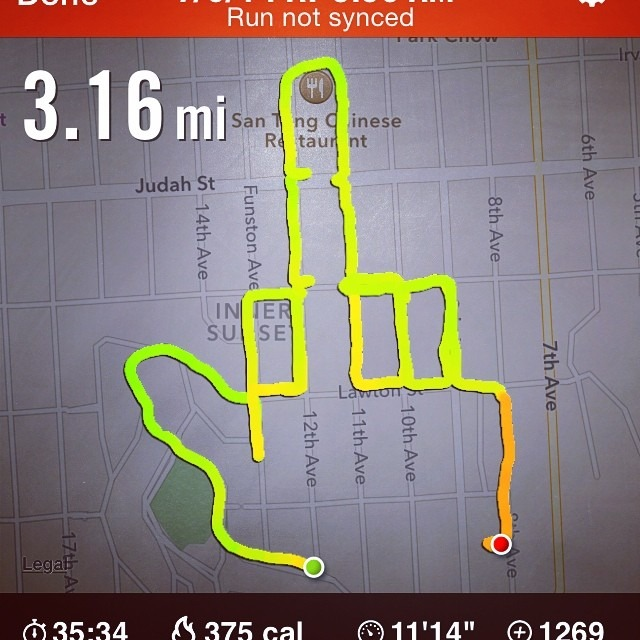 "runningdrawing :     This run is for Ashleigh Blumer Kohlitz. It's called ""fuck cancer"". Your west coast friends are thinking of you today. Thanks for giving me an excuse to run a middle finger. We know you're gonna #kickash. @breknk @ashbkohl #lovewins #runningdrawing #fuckcancer (at Inner Sunny)"