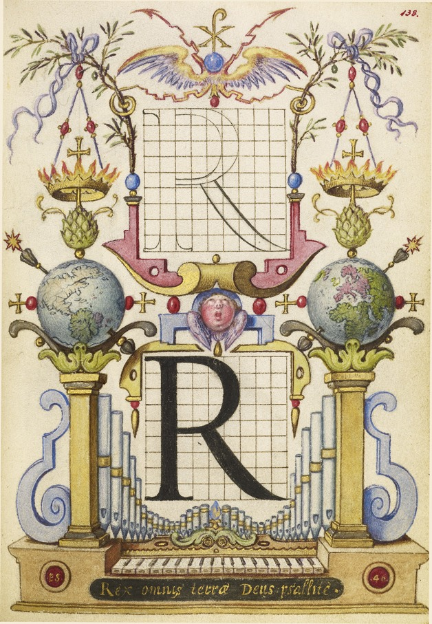 design-is-fine: Joris Hoefnagel, Guide for Constructing the Letter R, 1591 - 1596, Watercolors, gold and silver paint, and ink on parchment. Via Getty Open content.