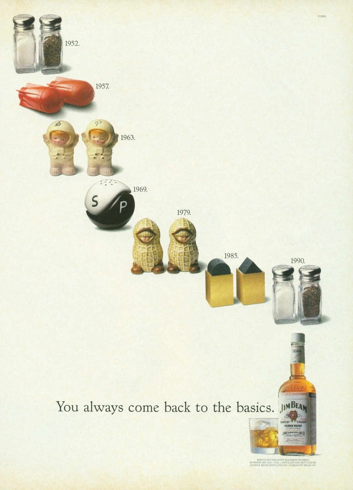 design-is-fine: Jim Beam, You always come back to the basics campaign, 1990. USA.