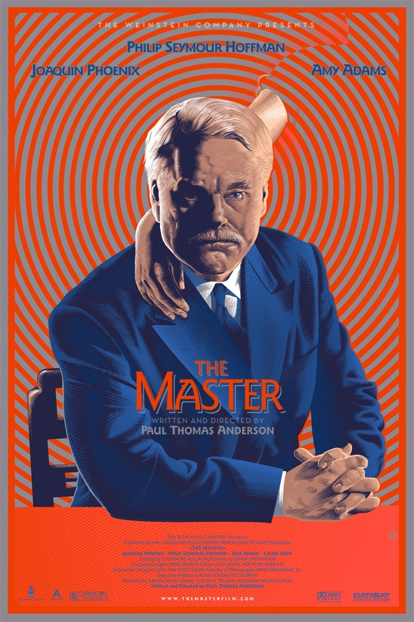 "film-dot-com :      MONDO POSTER: ""The Master""     the folks at Mondo are trotting out funky posters for all of this year's Best Picture nominees. they've previewed a couple, but the rest will roll out during the show. of the first three, ""The Master"" is the one i dug the most.     FILM.COM"