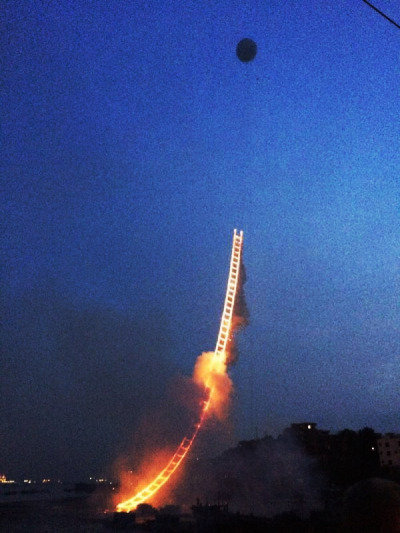 Fiery ladder to heaven appears over Quanzhou