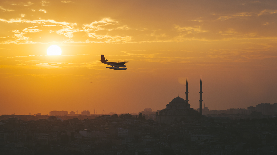 Plane over Istanbul, Turkey. Shot from Galata Tower.