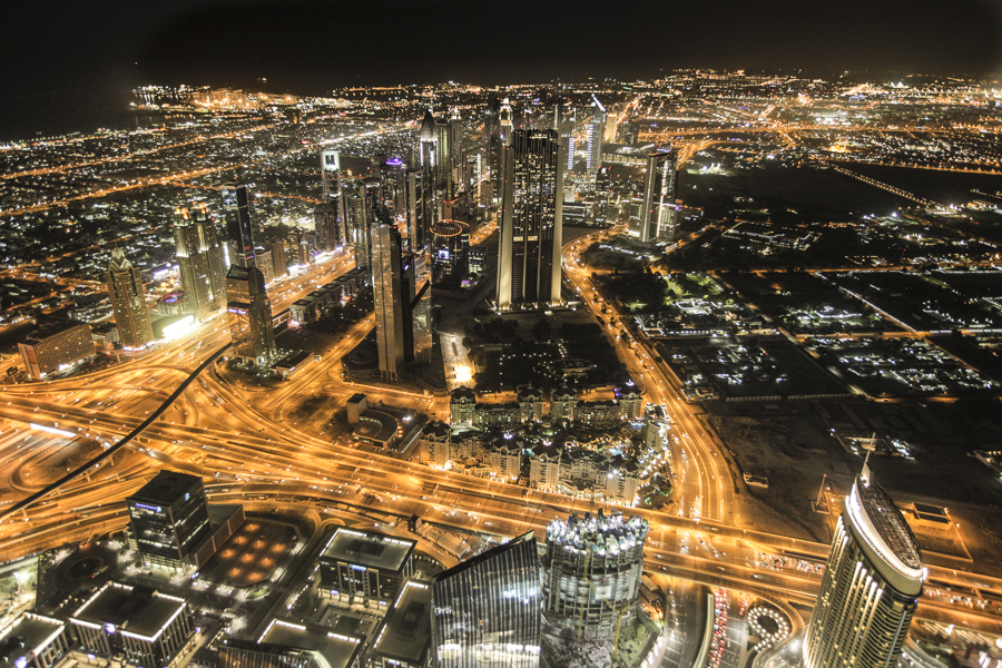 Dubai Financial Center, seen from the observation deck of theBurj Khalifa.Dubai, UAE.
