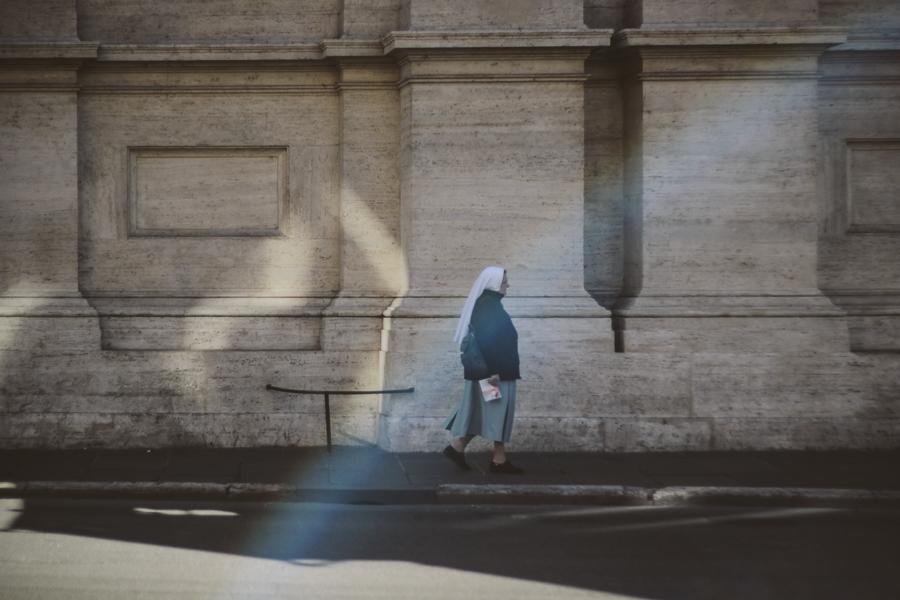"""Illuminated"" nun walking the Rome streets, Italy. 2011"