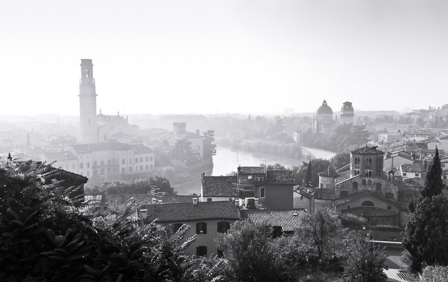 Misty Verona afternoon. Verona, Italy.