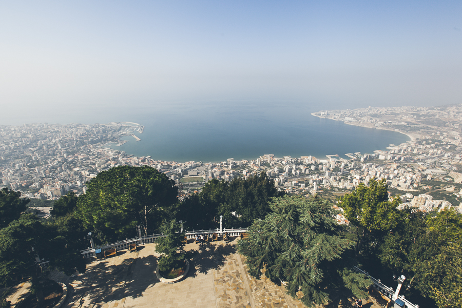 Beirut bay seen from Harissa, Lebanon. The village is located 20 km north of Beirut, and accessible from the coastal city of Jounieh either by road or by a nine-minute journey by a gondola lift, known as the Téléphérique.