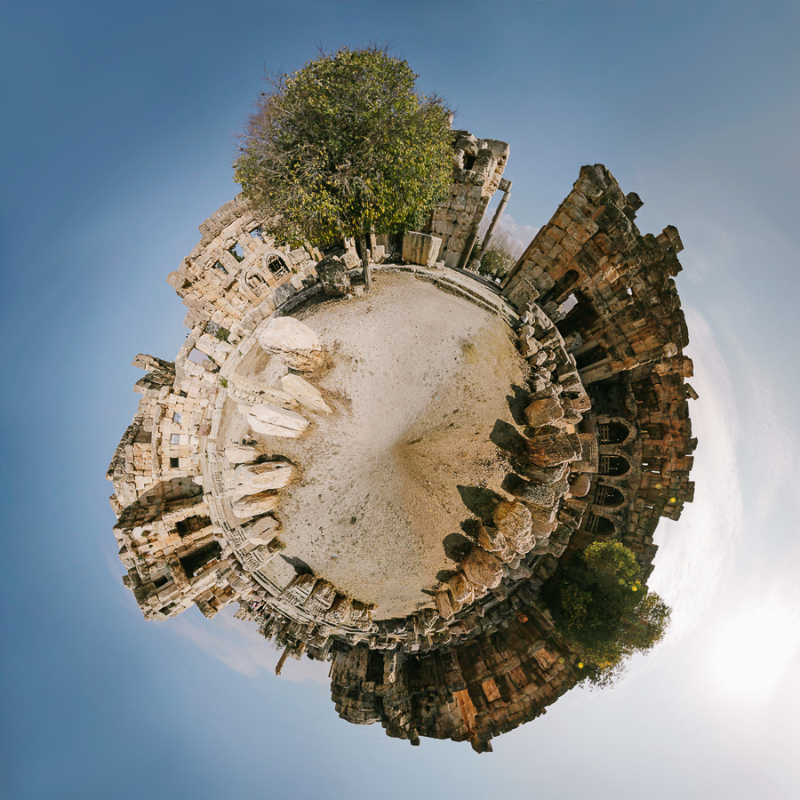Baalbek, Lebanon. Small world created with a panorama.