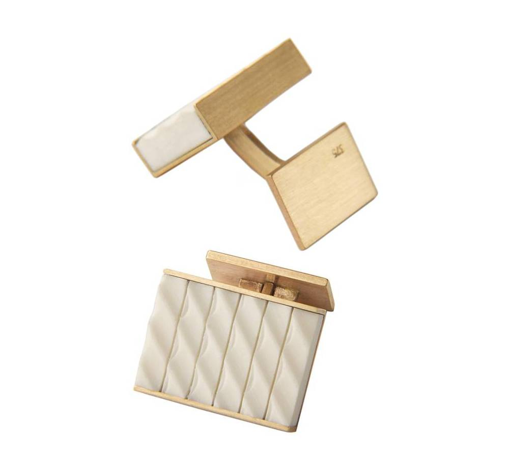 Cufflinks for Marion  Tiepin:   Urban Fabric Project    Bone, Gold