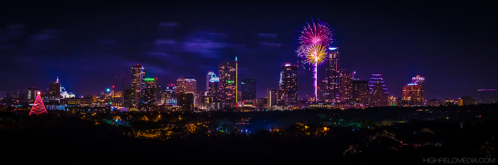 Fireworks over Auditorium Shores viewed from South Austin.