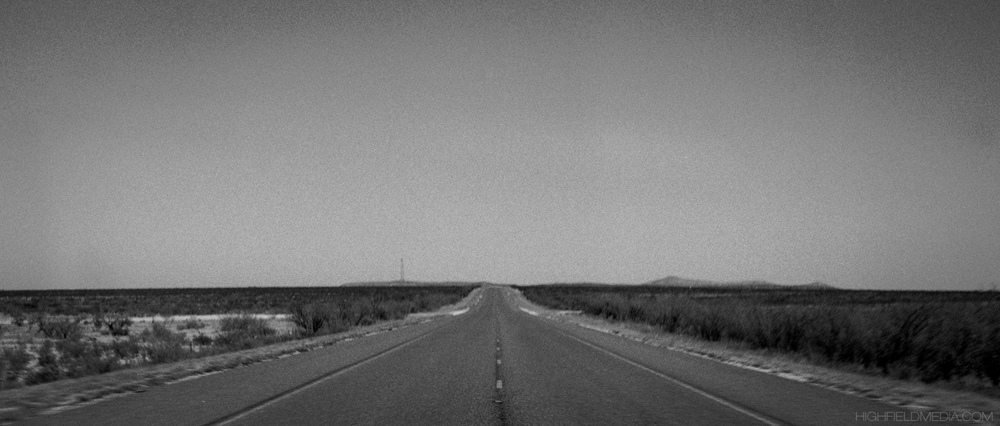 A desolate stretch of State Highway 118 between Study Butte-Terlingua and Alpine, TX. Speed limit, 75 MPH.