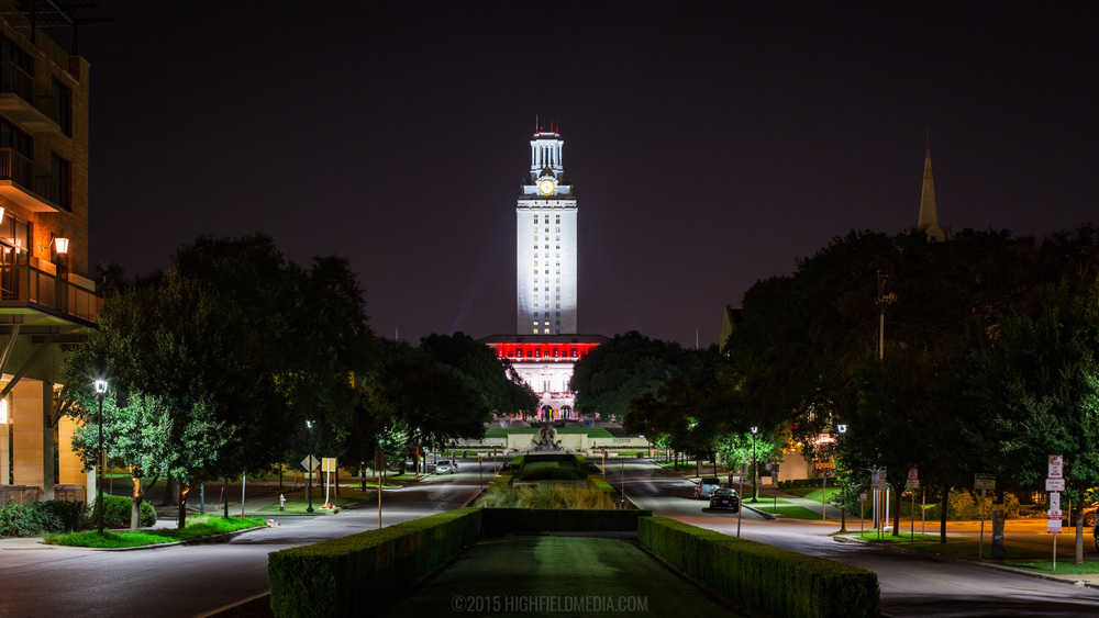 Gone to Texas Class of 2019 UT tower lighting test