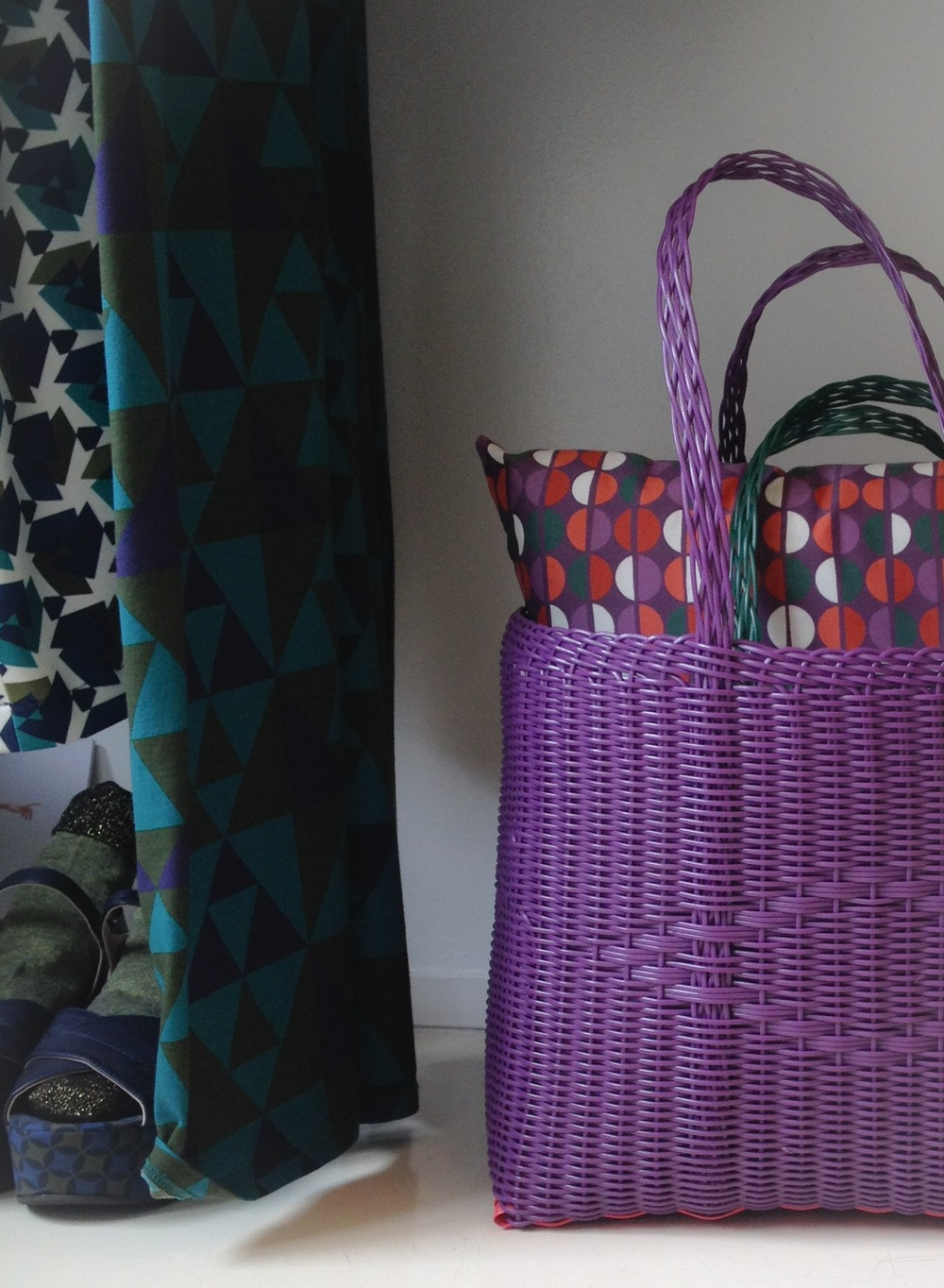 Medium Tote Bag on grape and strawberry. We love colors and patterns!