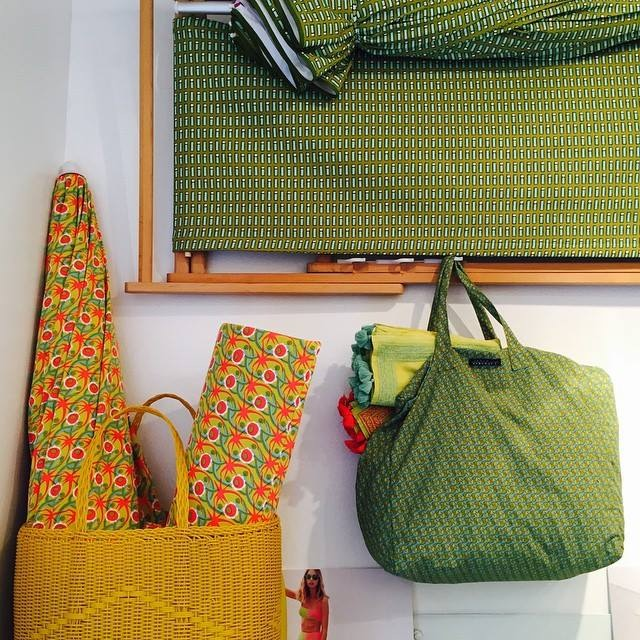 Large Tote Bag on yellow and aqua tone. Dreaming summertime! ( photo credit: Laura Urbinati )