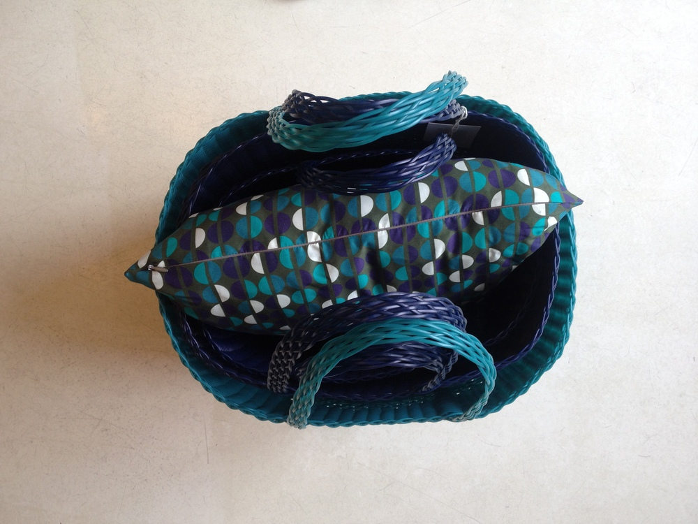 Pillow in the bags! Blue and Turquoise tote bags color mix.