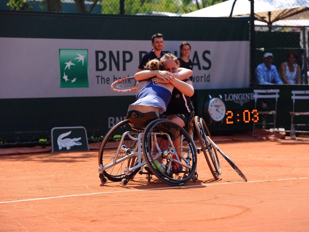 Winning doubles together with Aniek van Koot.