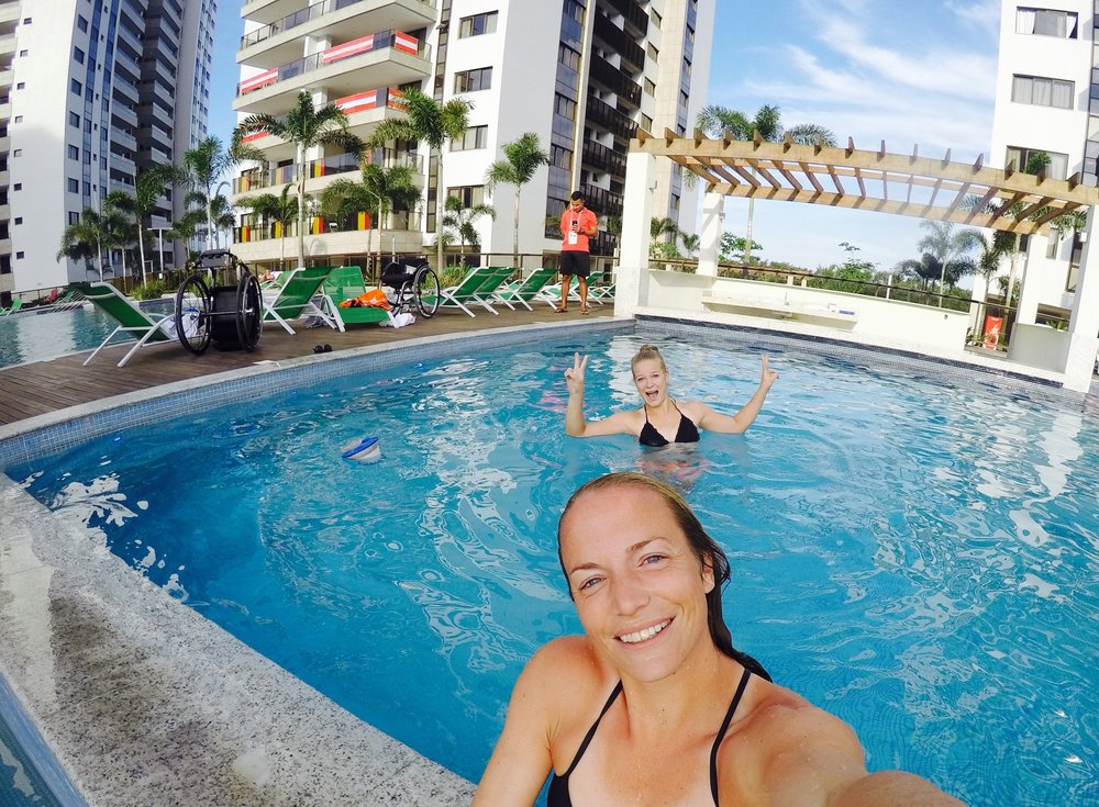 Fun at the swimming pool with Diede de Groot at the Paralympic Village.