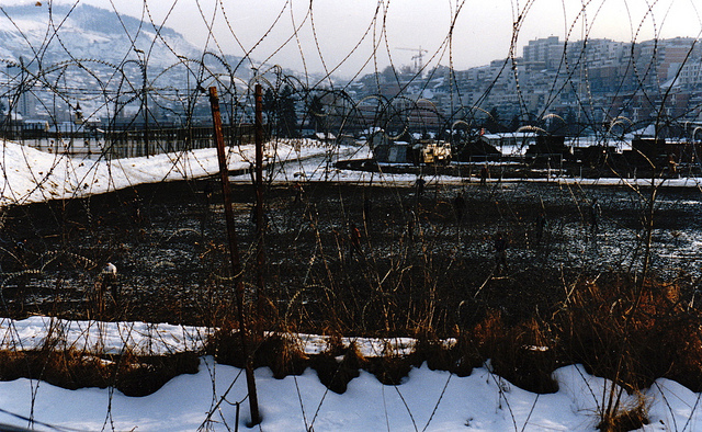 Concertina Wire, Sarajevo 1996. Photo courtesy Flickr user  Dale Cruse  under a  Creative Commons Attribution 2.0 Generic (CC BY 2.0) License
