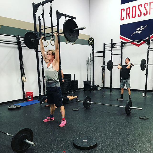 """Got a little """"practice"""" in for the Battle of the Clubs this morning! There's still time to sign up 🤗💪🏼 #razorbackcrossfit #crossfit #battleoftheclubs #partnerbash"""