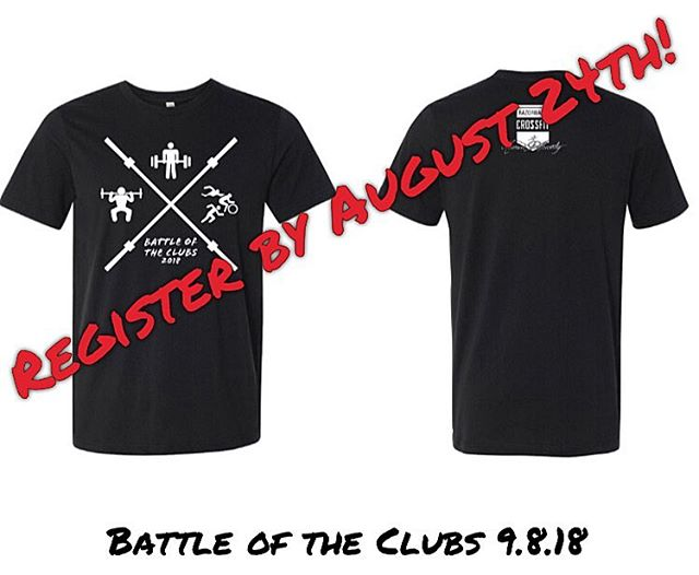 Battle of the Clubs is less than a month away!! 😱 Register by August 24th to guarantee a shirt. #razorbackcrossfit #crossfit #battleoftheclubs #partnerbash