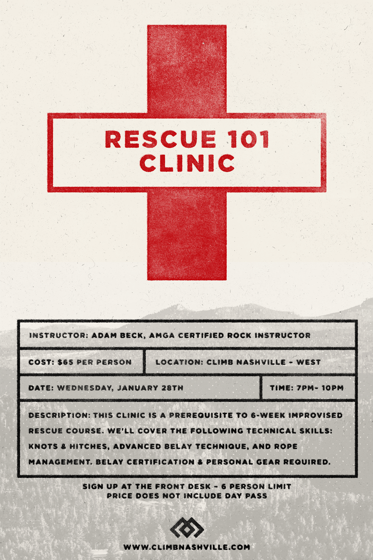 Rescue 101 clinic climb nashville indoor rock climbing or at the front desk 1betcityfo Choice Image