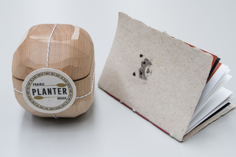 Black-Footed Ferret, Emily Ogden. Prairie Grass seed paper made with Fresh Press.