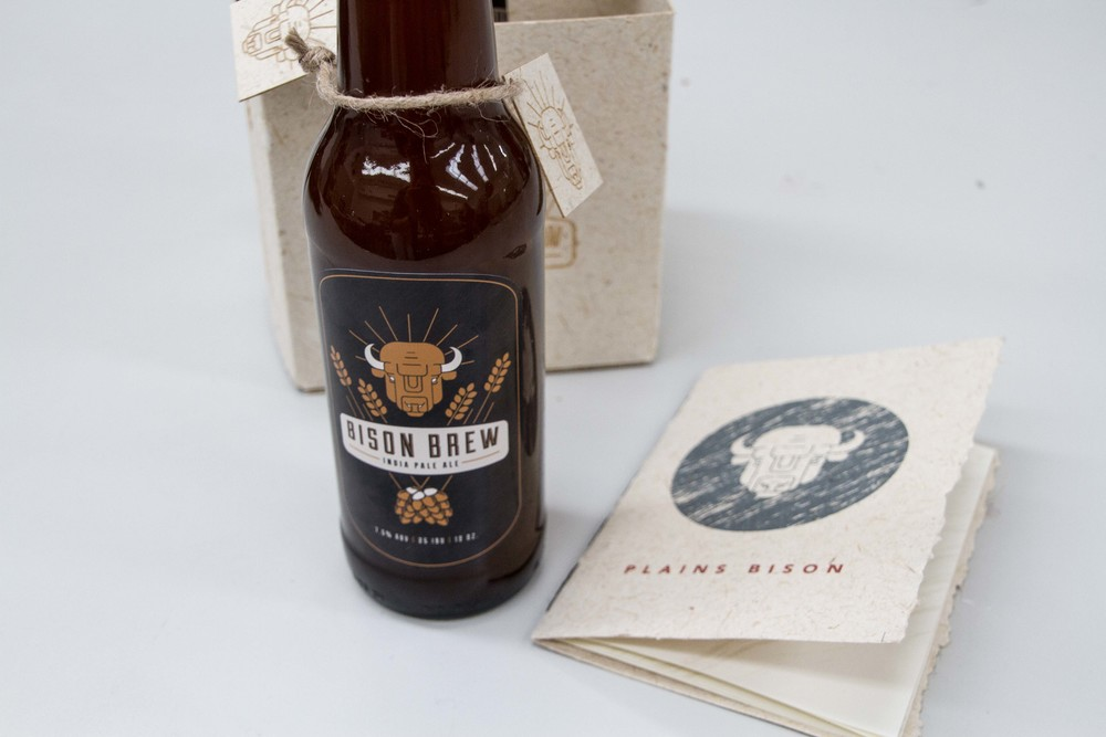 Alyssa Sparacino, Plains Bison. Bison Brew packaging, paper made at Fresh Press.