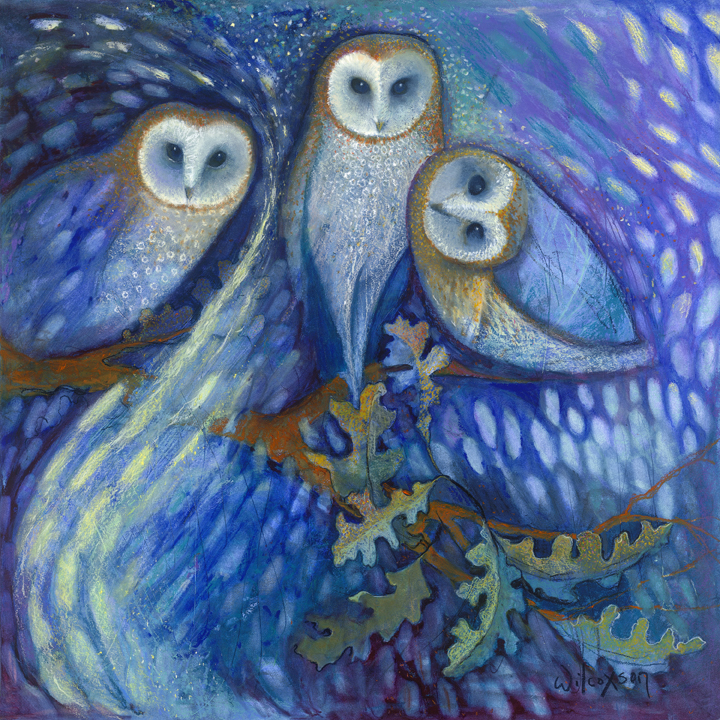 Owls of the Aurora Borealis - SOLD