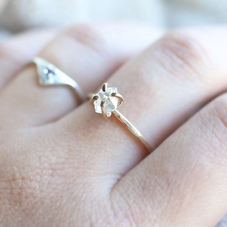 14k gold filled hammered herkimer diamond ring sara reynolds jewelry 14k gold filled hammered herkimer diamond ring junglespirit Image collections