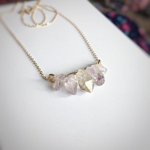 Dainty 14k gold filled raw herkimer diamond amethyst necklace dainty 14k gold filled raw herkimer diamond amethyst necklace aloadofball Gallery
