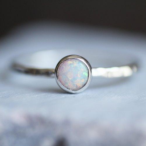 569da1f49bbcb Sterling Silver Hammered Round Opal Ring — Sara Reynolds Jewelry