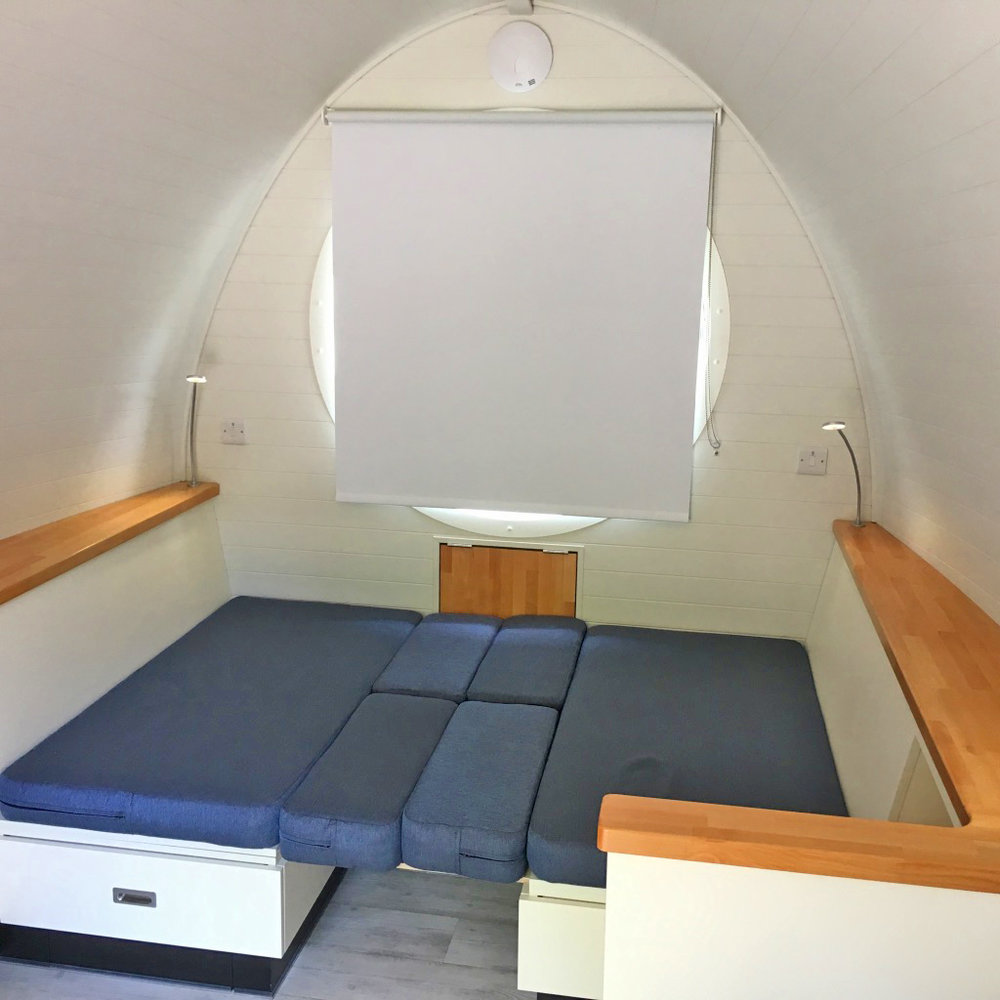 3 berth Pod with double bed configuration