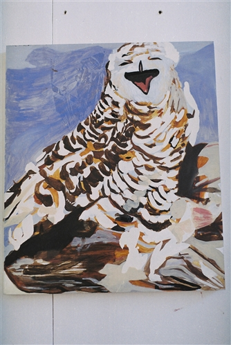 Laughing Owl   Oil on Aluminium  45 x 38 cms  2012
