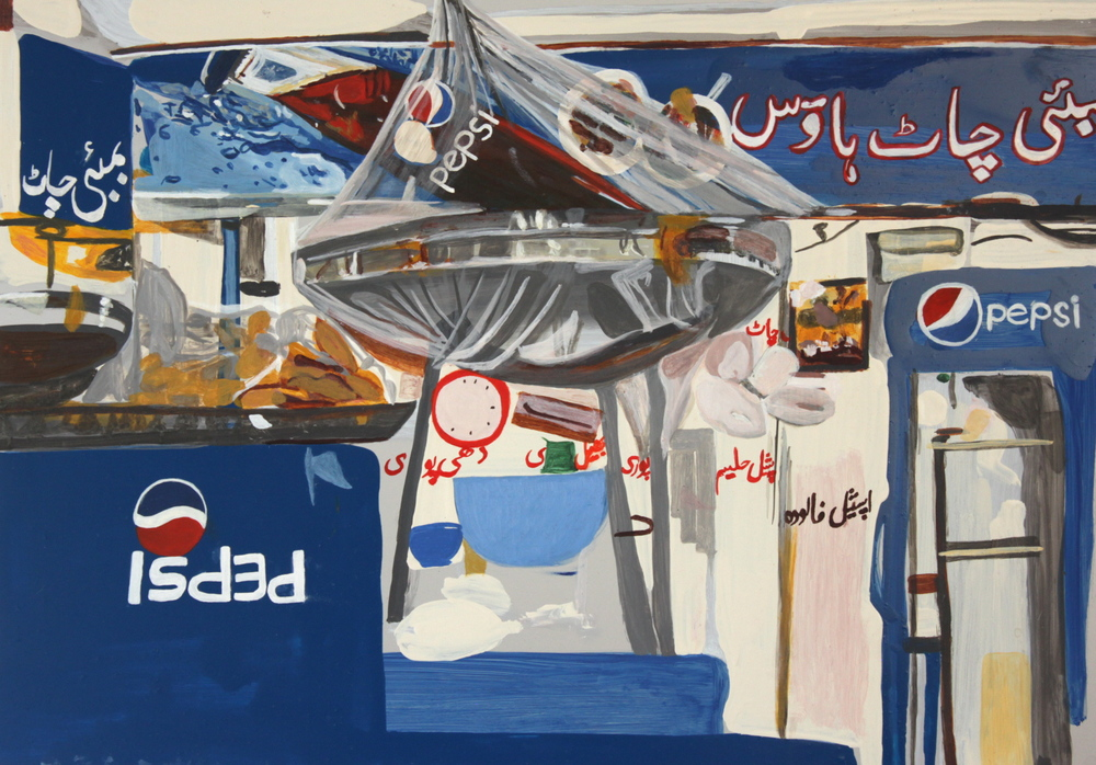Chaat House  Oil on Aluminium  66x40 cms