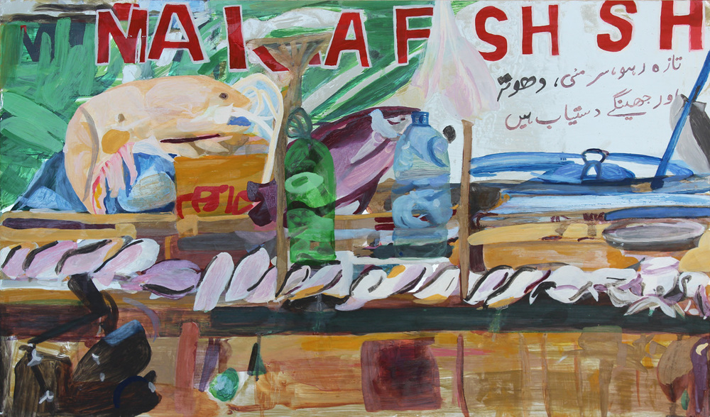 Fishmarket  73 x 44 cms // oil on aluminium