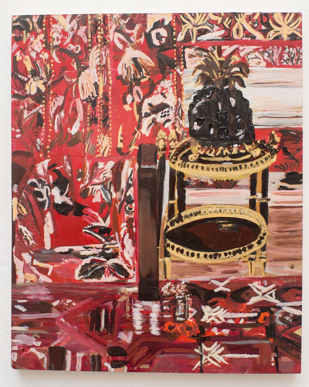 Red Room   Oil on Aluminium  30x37 cms