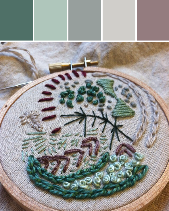 my embroidery sampler of surface filling stitches from our mini lesson
