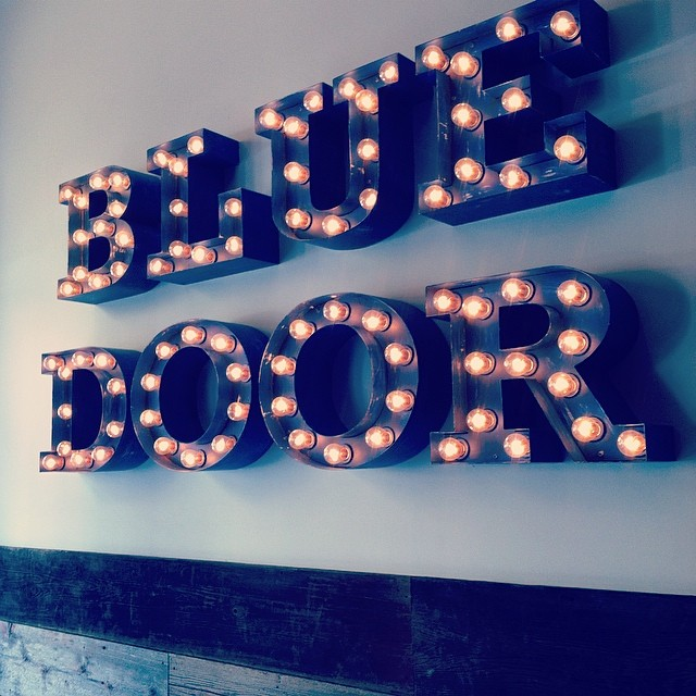 marquee lights in blue door cafe. chicago, il. from my instagram feed (@laigrai).