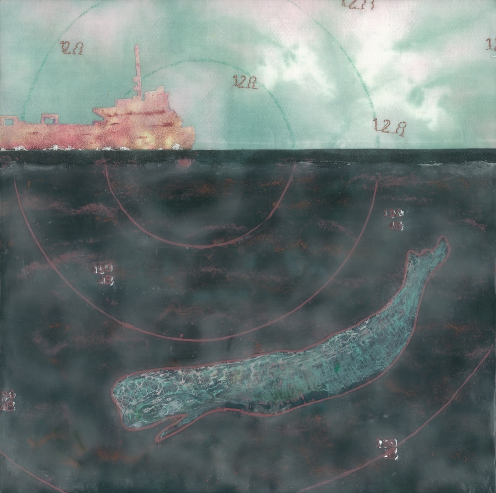 "Superprop (c) 2014. Diane reardon. 10"" x 10"". $180. (sperm whale swims away from supertanker prop sound of 128 db)"