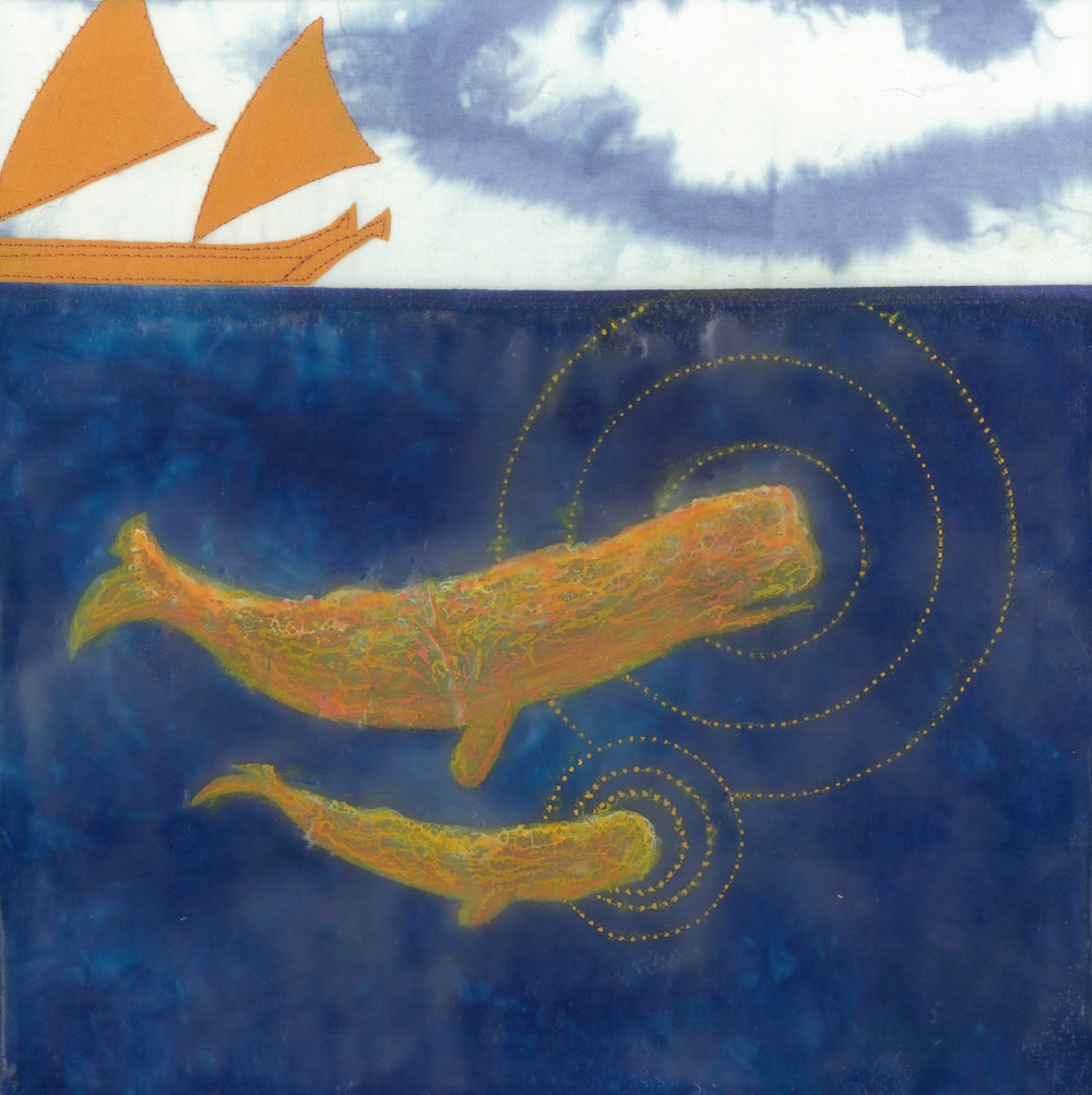 "lady madonna (c) 2014. diane reardon. 10"" x 10"". sold (Sperm whale mother and child beneath poynesian sailboat)"