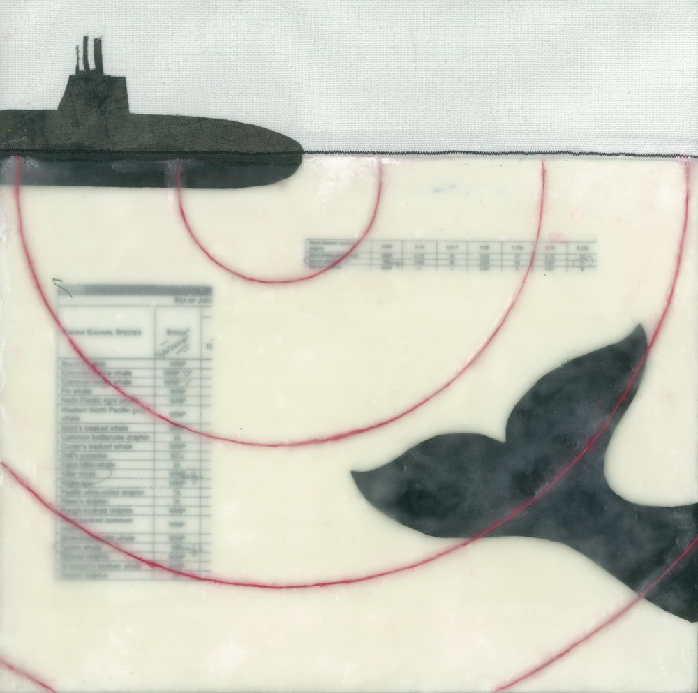 "sonar i (c) 2014. diane reardon. 10"" x 10"". sold. (whale leaving area of submarine sonaR)"