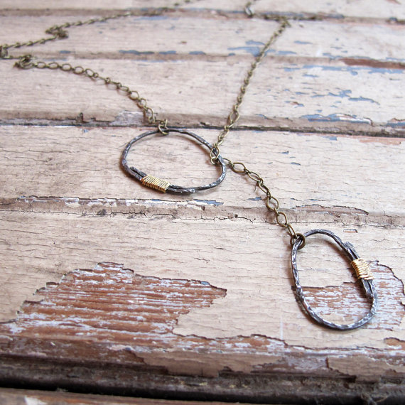 River Rock Steel and Brass Lariat Necklace