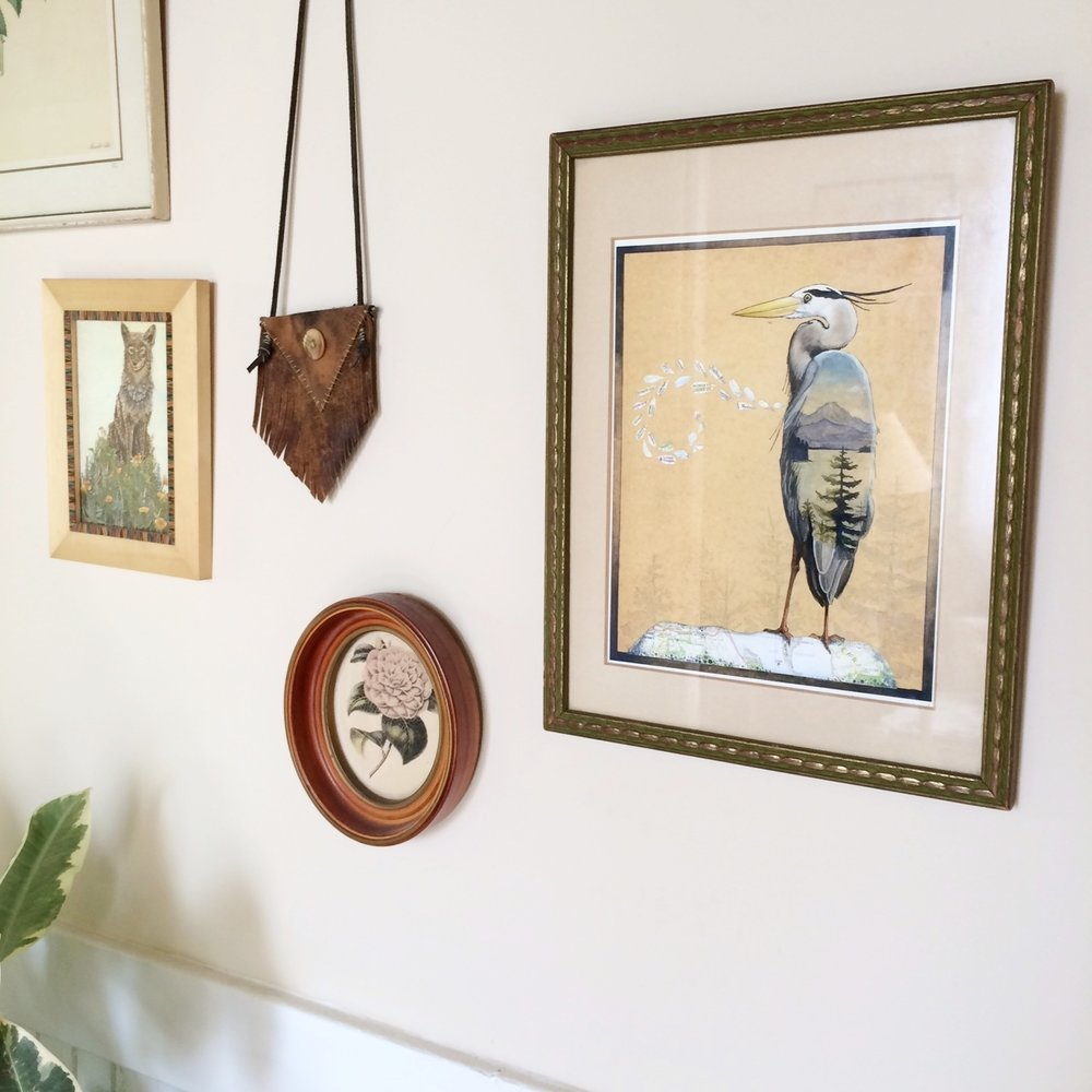 pictured above, her Great Blue Heron watercolor hanging in my front entryway