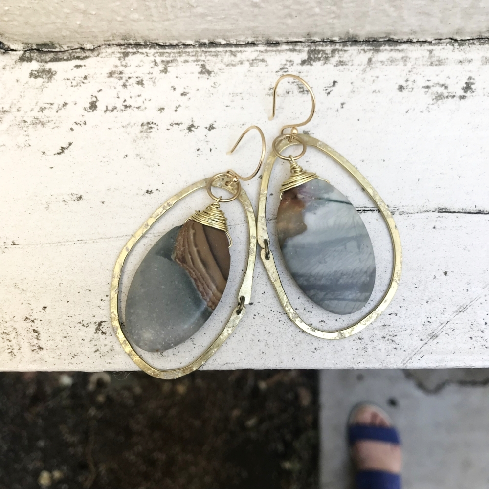 some OOAk River Rock earrings I made for the Kate Wolf Music Festival - these sold at the event, but I plan to make some more similar ones in the future