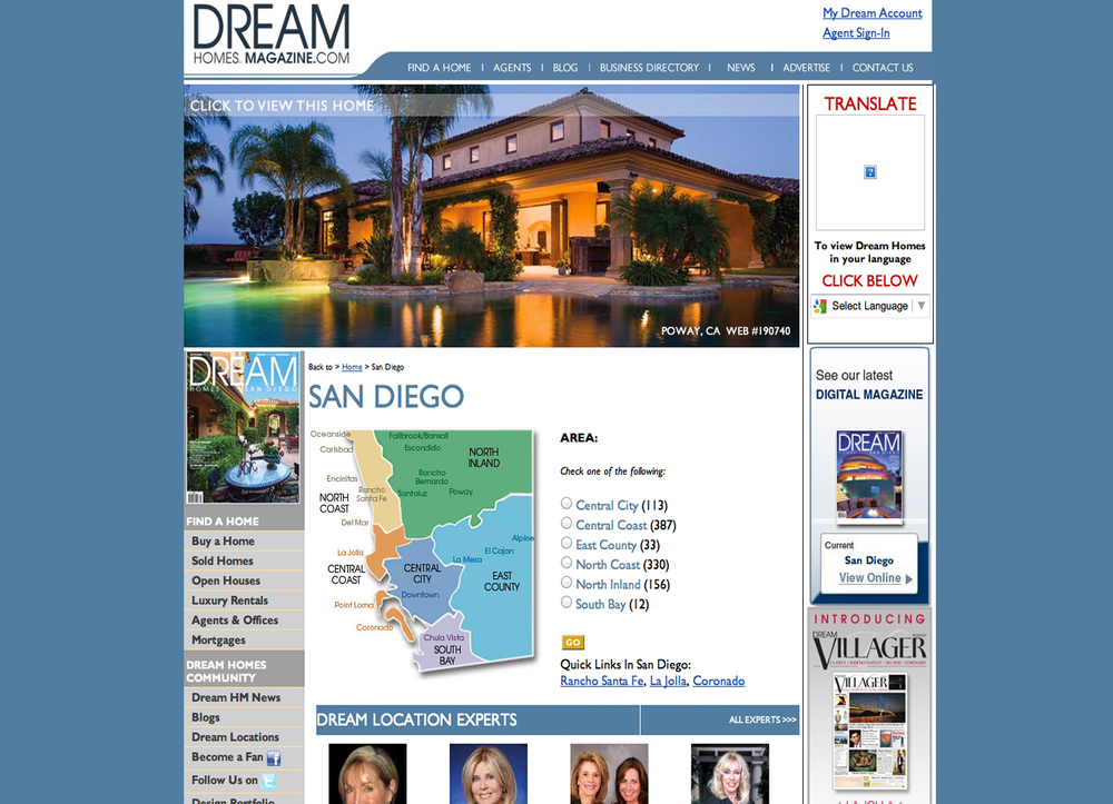 Sr. UI/UX Lead Design Architect  Real Estate Site: Created entire site for Dream Homes Magazine, Managed this entire project, Database Structure design and Layout.  Technology Used: Pen & Paper, Photoshop, Illustrator, Axure RP, Omnigraffle, PHP Cake, MYSQL, JSON, HTML5 & CSS3, Authorize.net API, PAYPAL API.