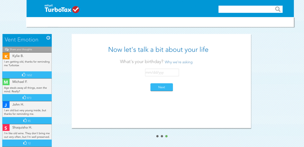 Twitter Style Realtime Emotion Sharing For TurboTax, Click on image for live Preview.
