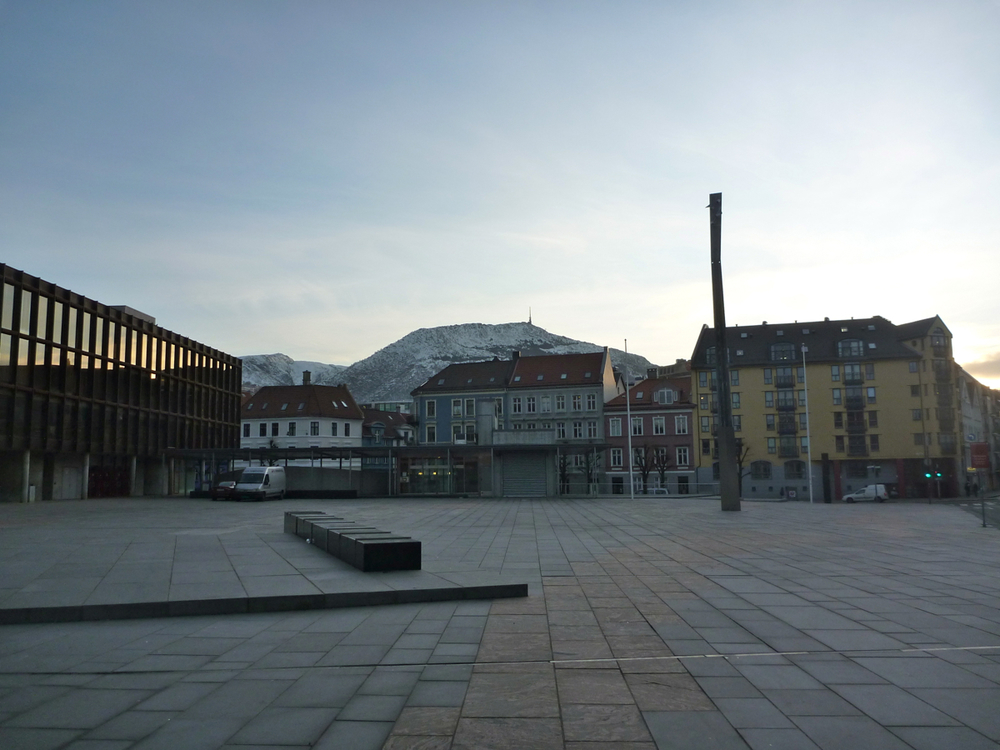 Square by Griegshallen, looking across to the cablecar terminal