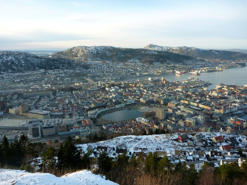 Central Bergen from top of Fløybana